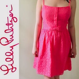 LILLY PULITZER Pink Lace Bow Dress